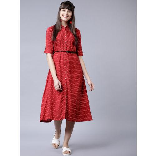 Vishudh Women Red & White Shirt Dress