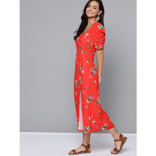 Mast & Harbour Women Coral Red & Green Floral Printed A-Line Dress