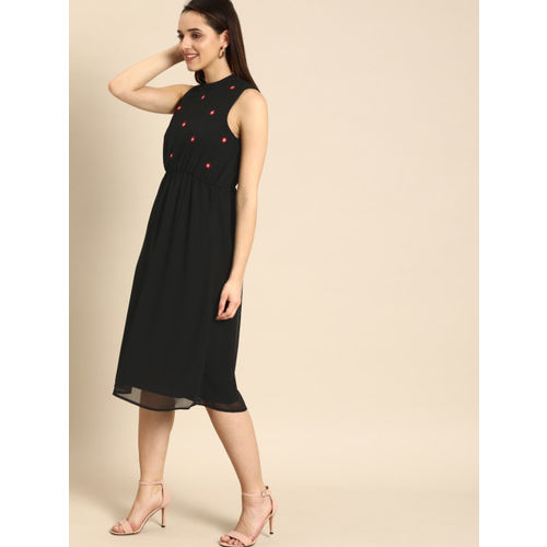 DressBerry Women Black Floral Embroidered Fit and Flare Dress