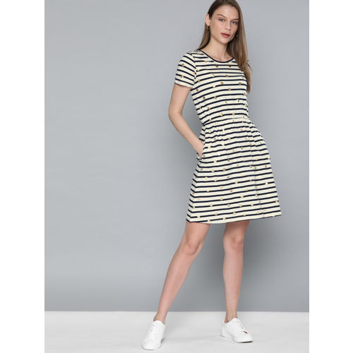 Chemistry Women Off-White & Navy Blue Striped Fit and Flare Dress