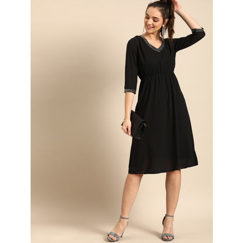 DressBerry Women Black Solid A-Line Dress