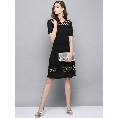 Label Ritu Kumar Women Self Design Black Fit & Flare Dress