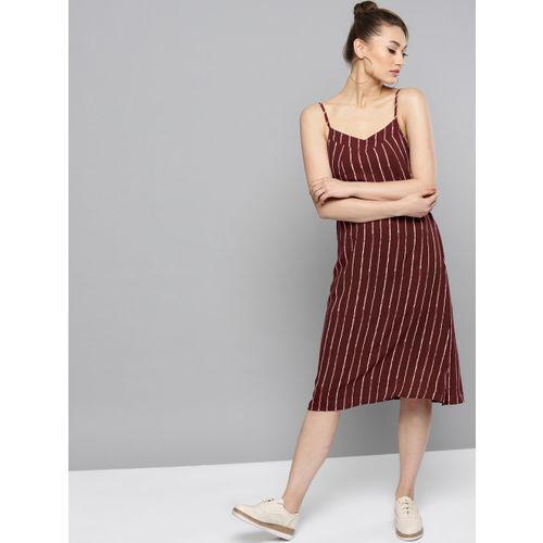 RARE Women Wine-Coloured & Off-White Striped Midi A-Line Dress