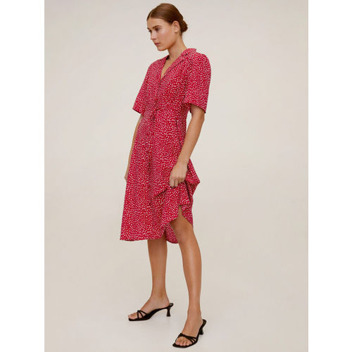 MANGO Women Red & Off-White Printed A-Line Dress