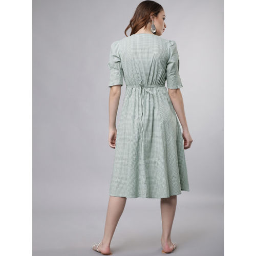 Tokyo Talkies Women Green & White Checked Empire Dress