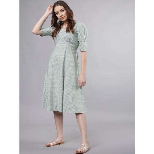 Tokyo Talkies Women Green & White Checked Empire Dress