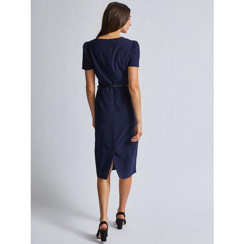 DOROTHY PERKINS Women Navy Blue Solid Formal Sheath Dress With Belt