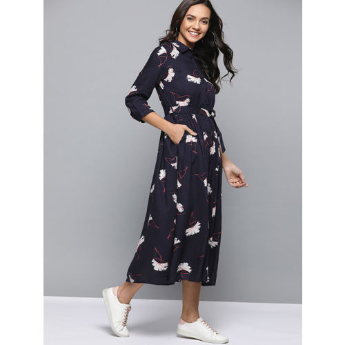 Mast & Harbour Women Navy Blue& Off-White Printed Shirt Dress