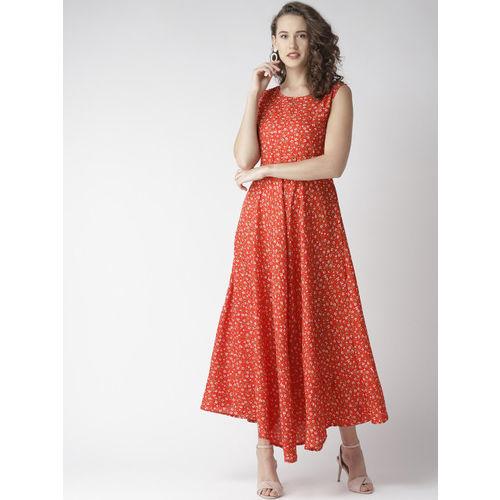 U&F Women Red & White Floral Print Maxi Dress