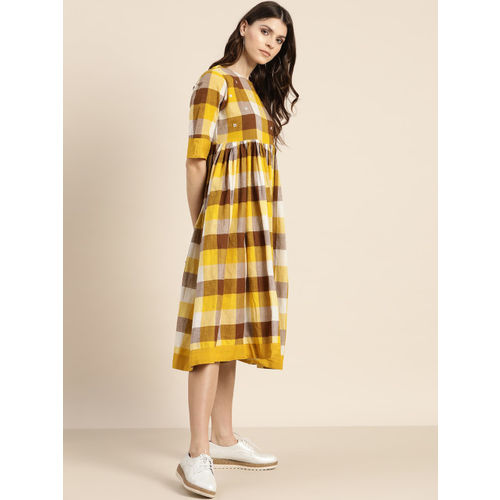 Sangria Women Mustard Yellow & Brown Checked A-Line Dress