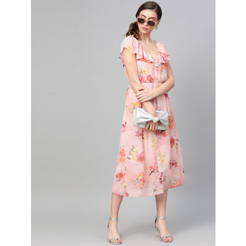 SASSAFRAS Women Peach-Coloured & Yellow Floral Printed Fit and Flare Dress