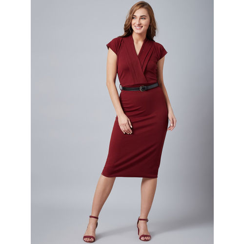 Athena Women Maroon Solid Wrap Sheath Dress