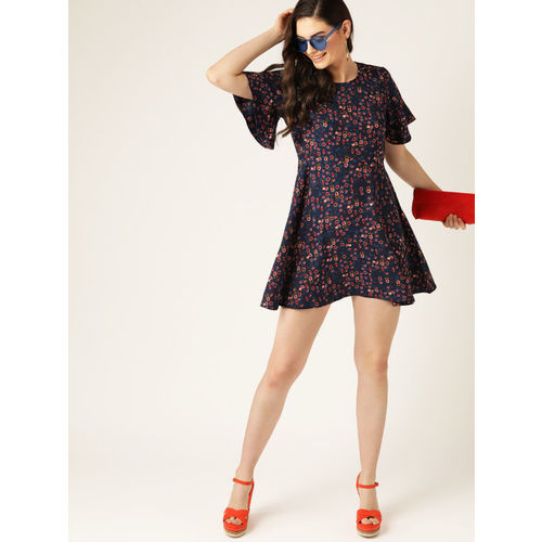 DressBerry Women Navy Blue & Maroon Floral Printed A-Line Dress