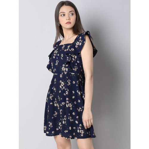 FabAlley Women Blue Floral Printed Fit and Flare Dress