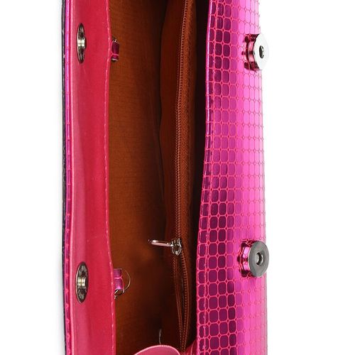 Kleio textured cylindrical glossy pink clutch