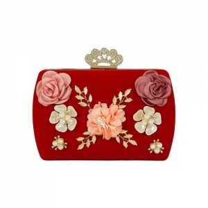 Kleio red metal box clutch