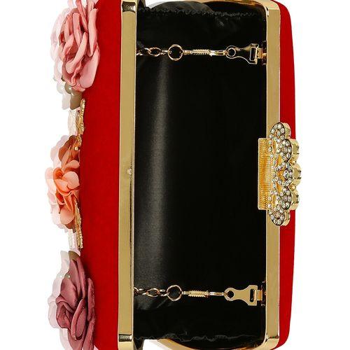 Kleio red metal box clutch
