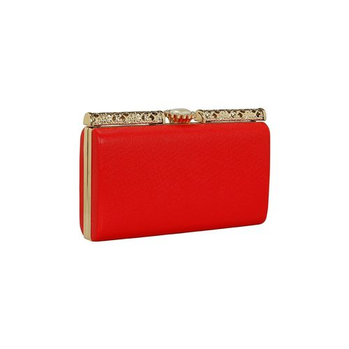 Kleio red leatherette (pu) box clutch