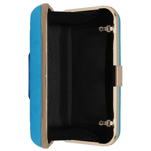 Kleio blue metal structured clutch