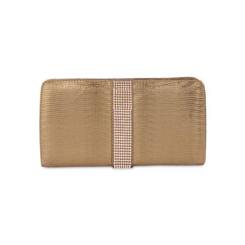Kleio brown silk embellished clutch