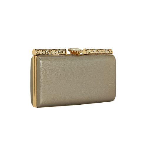 Kleio metallic leatherette box clutch