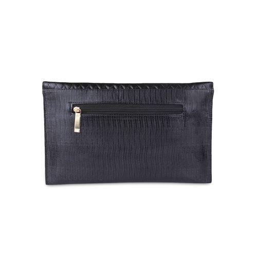 Kleio black faux leather embellished sling clutch