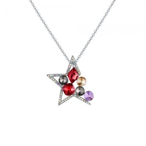Jewels Galaxy multi colored silver plated pendant