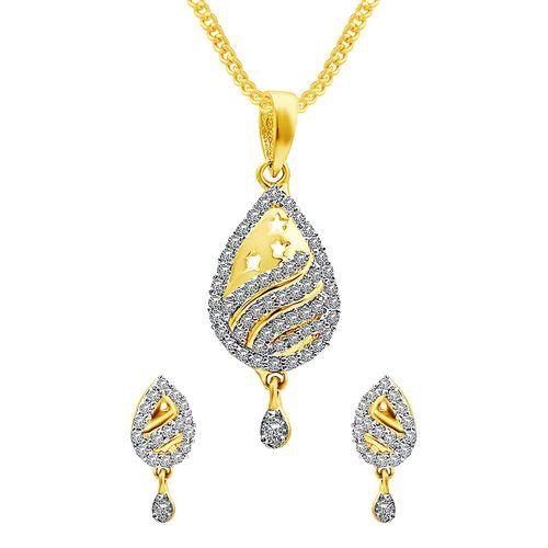 MFJ Fashion Jewellery gold brass pendant and earring