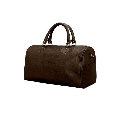 Kleio brown leatherette (pu) duffel handbag