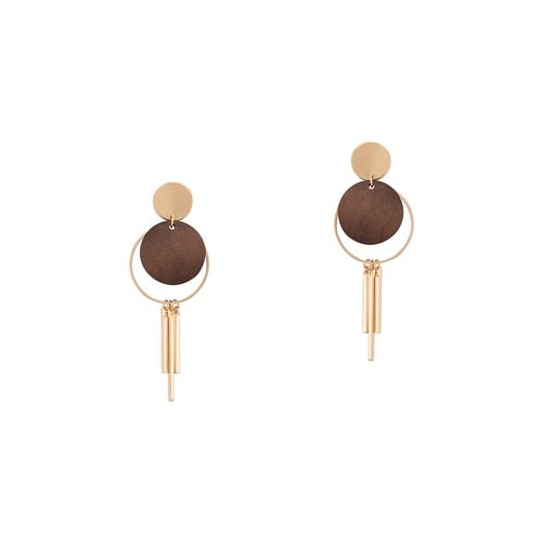 Globus brown metal drop earring