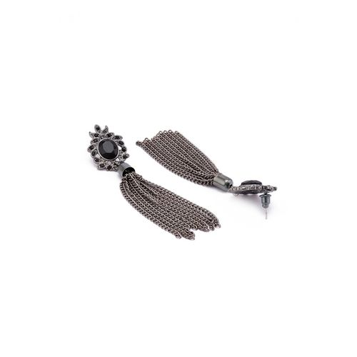 Globus black metal drop earring
