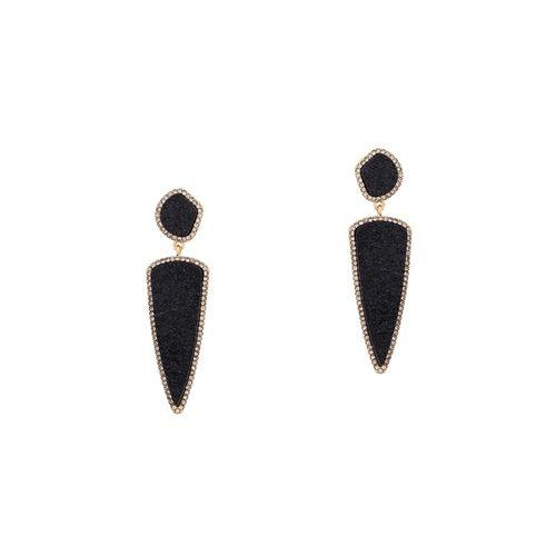 Globus black metal drop earring