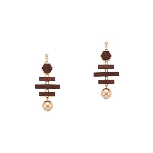Globus brown metal drop earring
