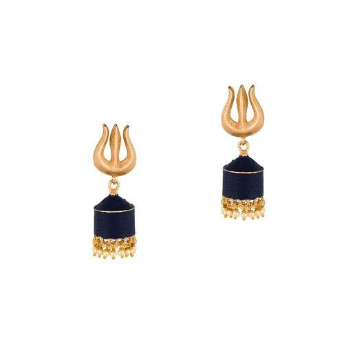 E2O blue brass jhumka earring