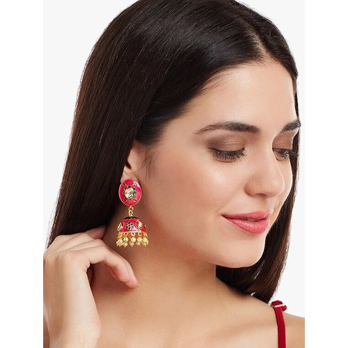 Panash red metal jhumka earring