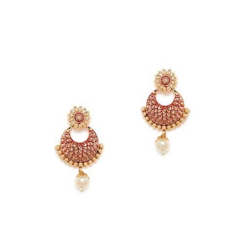 Panash red metal drop earring