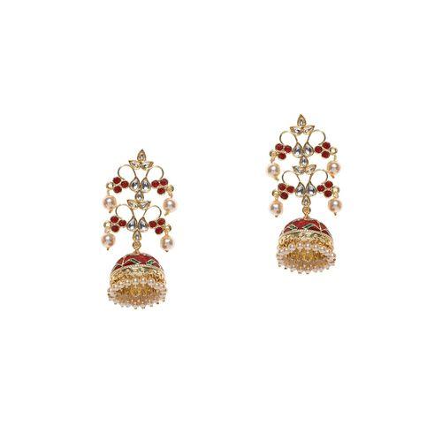 Panash red brass jhumka earring