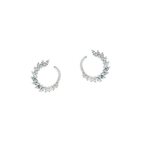 Kiyara white silver tone drop earring