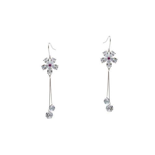 Kiyara red silver plated drop earring