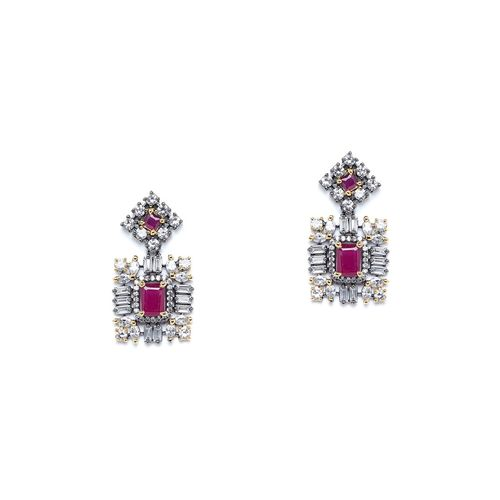 Panash pink metal drop earring