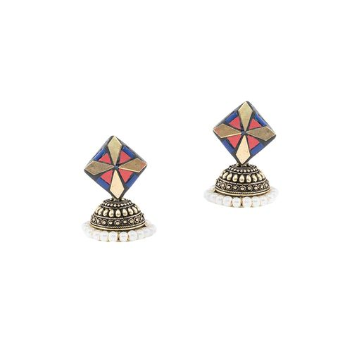 Anetra multi colored brass jhumka earring