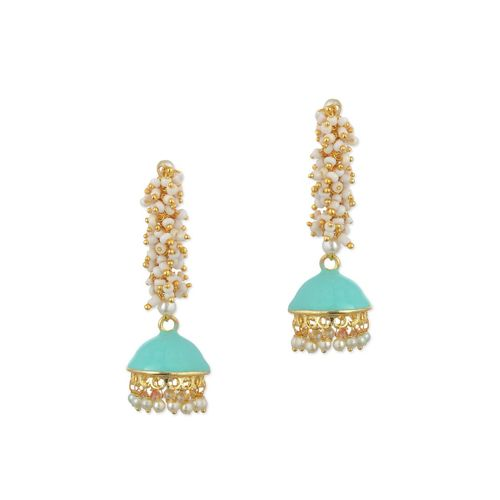 KSHITIJ JEWELS blue metal jhumka earrings