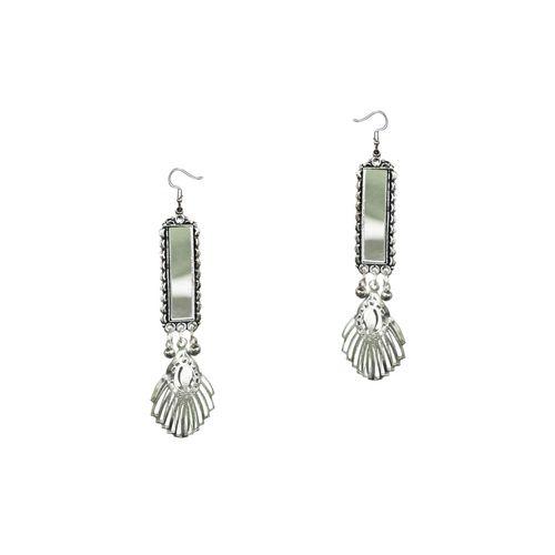 V&M silver tone tribal earrings