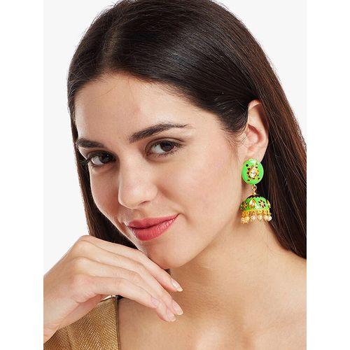 Panash green metal jhumka earring