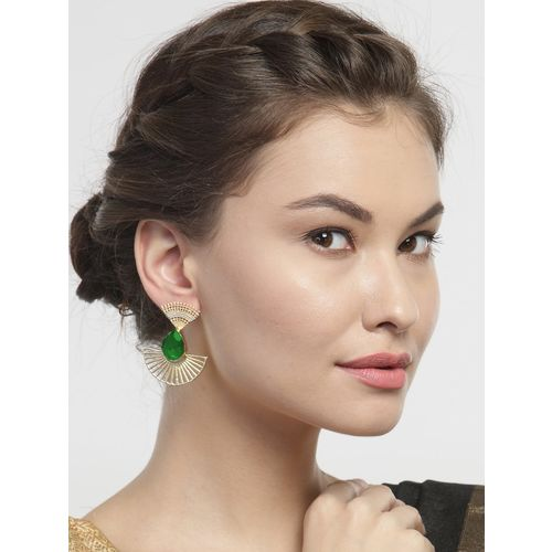 Diva Walk green gold tone stone earrings