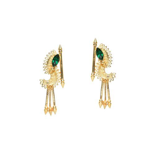 Diva Walk gold brass drop earring