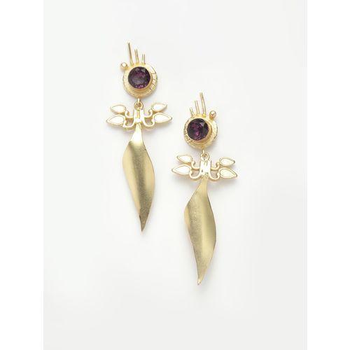 Diva Walk purple gold tone drop earrings