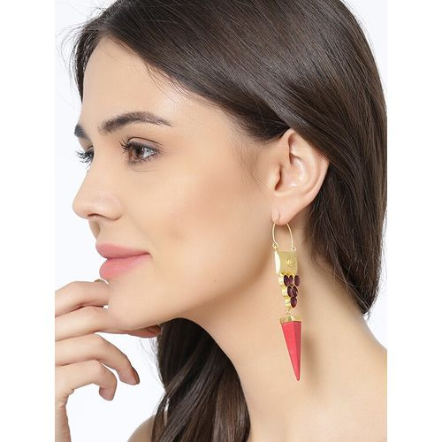 Panash red brass hoop earring