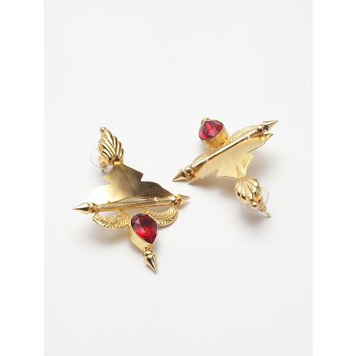 Diva Walk red gold tone stone earrings