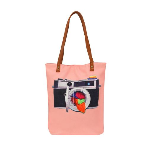 Kleio pink canvas regular shopping bag